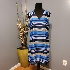 Banana Republic Striped Navy Blue Dress NWT